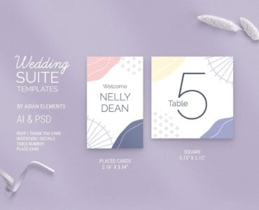 Abstract Pastel Wedding Place Card Template