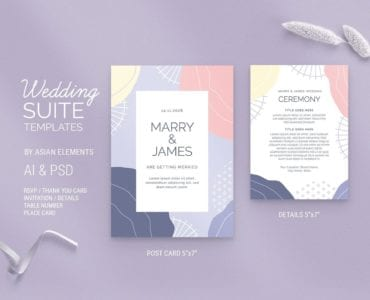 Abstract Pastel Wedding Postcard Template