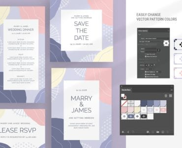 Abstract Pastel Wedding Templates Preview