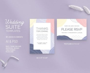 Abstract Pastel Wedding RSVP Card Template