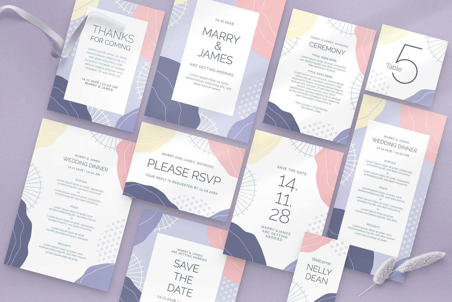 Abstract Pastel Wedding Stationery Templates Suite