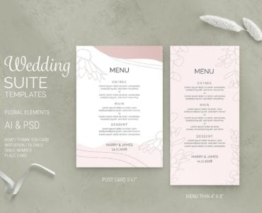 Floral Wedding Menu Templates