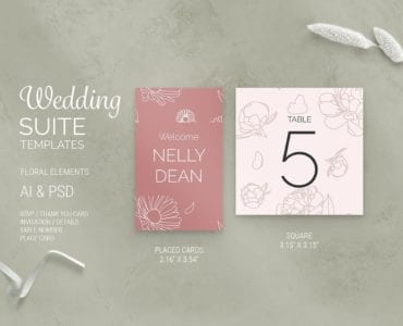 Floral Wedding Place Card Templates