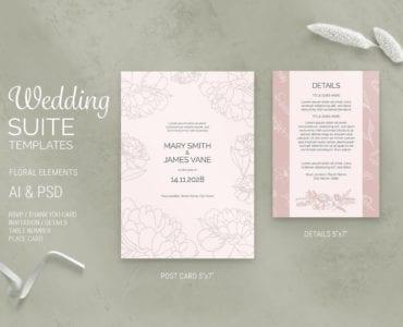 Floral Wedding Postcard Template