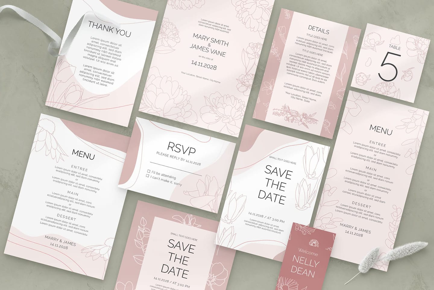 Floral Wedding Templates Suite in PSD & Vector