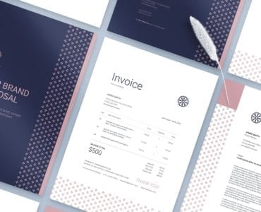 Navy & Pink Invoice Template in PSD & Ai