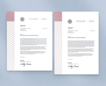 Navy & Pink Stationery Letterhead Template