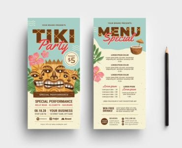 Tiki Party DL Card Flyer