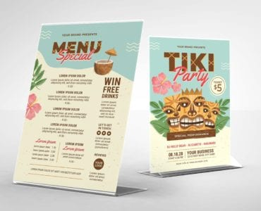 Tiki Party Flyer / Table Tent Back