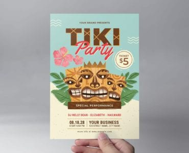 Tiki Party Flyer Template Front