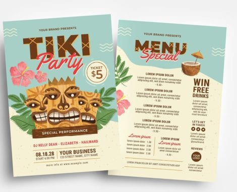 Tiki Party Flyer Templates