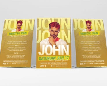 Yellow Gold DJ Flyer Template (Table Tent)