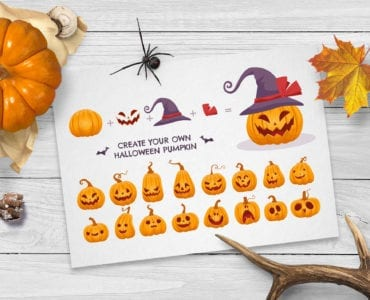 Halloween Pumpkin Face Vector Creator Kit