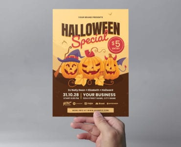 Halloween Party Flyer Template for Children (PSD & Vector)