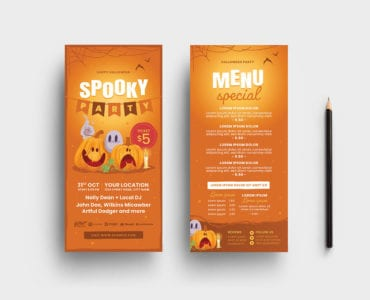 Orange Halloween DL Card Template (PSD & Vector)
