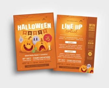 Orange Halloween Flyer Template (PSD & Vector)