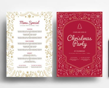 Festive Christmas Menu Templates for Photoshop & Illustrator
