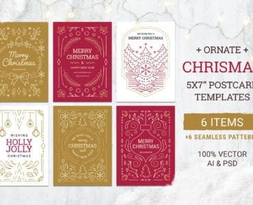 Ornate Christmas Card Templates for Photoshop & Illustrator