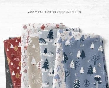 Winter Christmas Tree Patterns for Photoshop & Illustrator