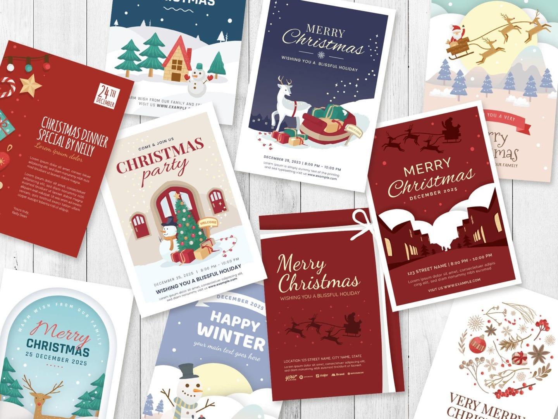 Christmas Card Templates for Adobe Illustrator