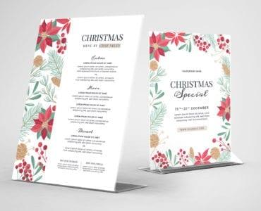 Christmas Menu Flyer Template for Adobe Illustrator
