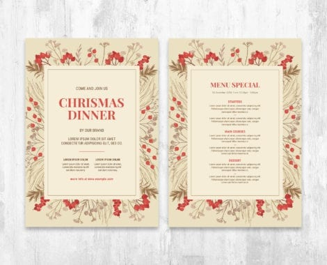 Christmas Menu Poster Template for Adobe Photoshop