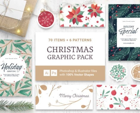 Festive Christmas Vector Clipart for Photoshop & Illustrator