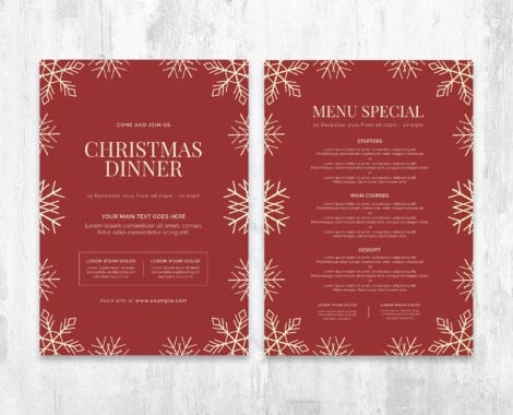 Minimal Christmas Menu Template PSD for Photoshop