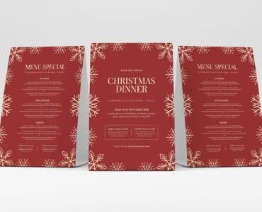 Minimal Christmas Menu Template PSD for Photoshop
