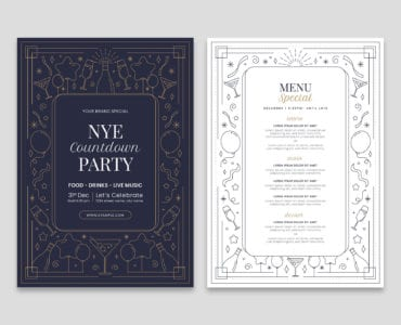 NYE New Year's Eve Menu Template in PSD & Vector