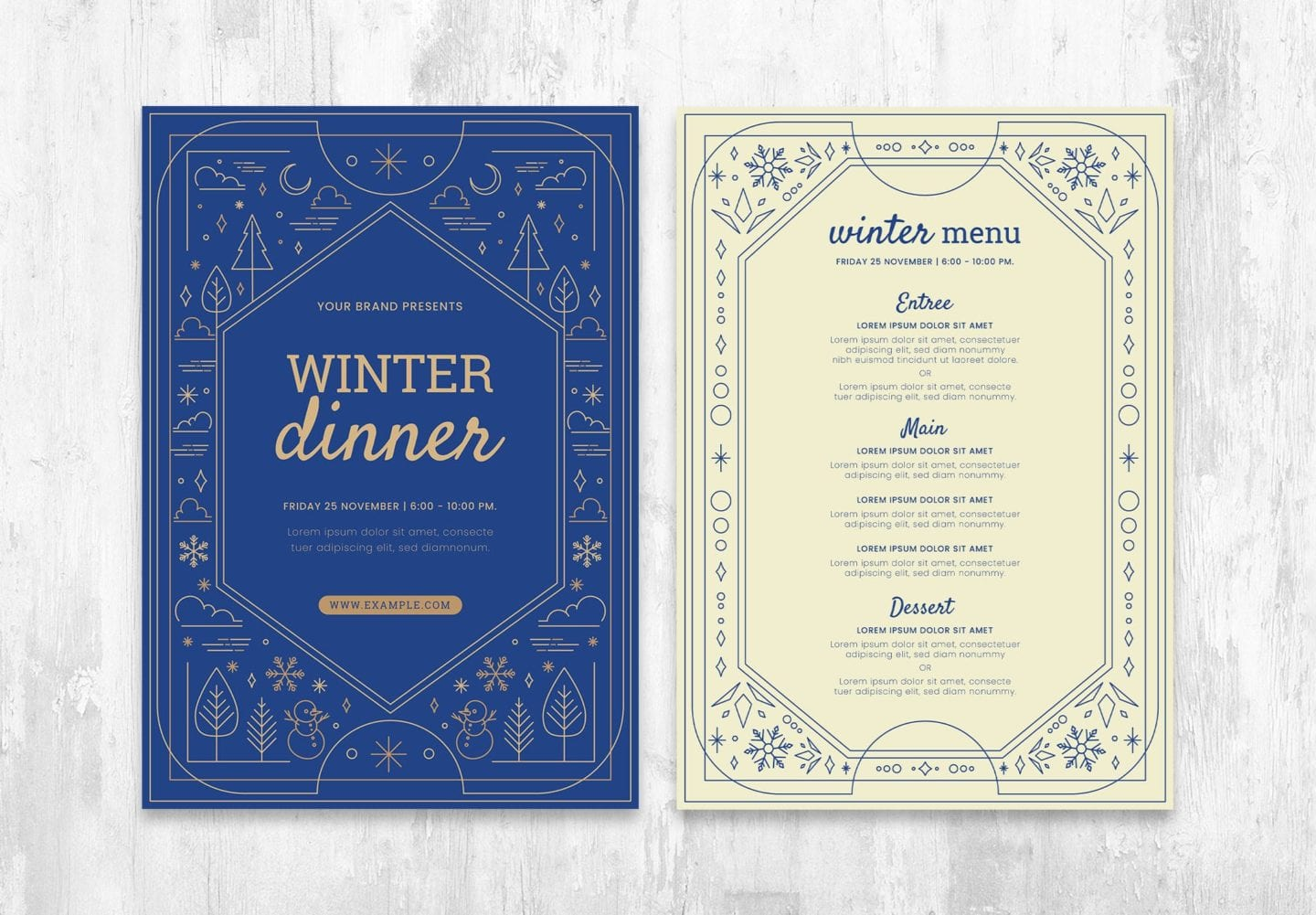 Ornate Winter Menu Template in PSD & Vector, for Photoshop & Illustrator