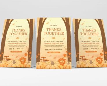 Rustic Thanksgiving Flyer Template Vector for Adobe Illustrator