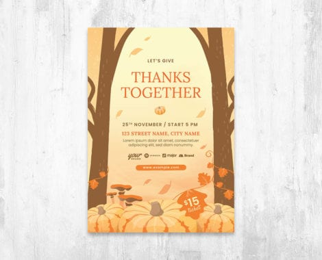 Rustic Thanksgiving Flyer Template Vector for Adobe Illustrator
