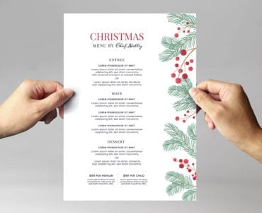 Simple Christmas Menu Poster Template for Adobe Illustrator