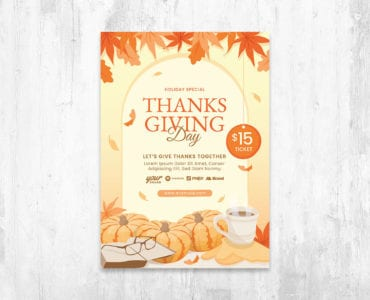 Thanksgiving Flyer Template Vector for Adobe Illustrator