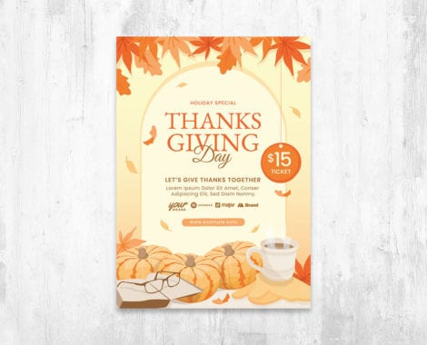 Thanksgiving Flyer Template Vector for Adobe Illustrator