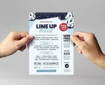 Winter Event Flyer Template, PSD & Vector, for Photoshop & Illustrator