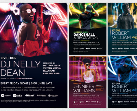 DJ Club Flyer Templates in Photoshop PSD