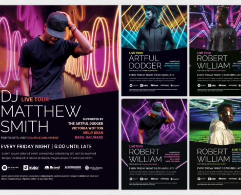 Neon DJ Flyer Templates for Photoshop
