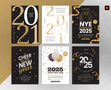 Simple NYE Flyer Templates for Adobe Illustrator