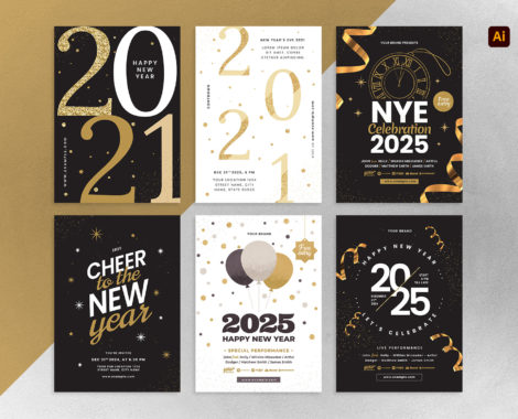 Simple NYE Flyer Templates for Adobe Illustrator