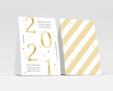 Simple White & Gold NYE Flyer Template for Illustrator
