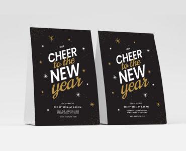 Typographic NYE Flyer Template for Illustrator