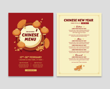 Chinese A4 Menu (Vector, EPS, Illustrator)