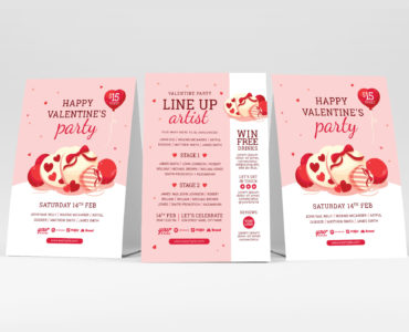 Illustrated Valentine's Day Flyer PSD & Vector