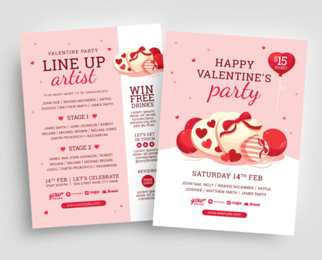 Illustrated Valentine's Day Flyer in PSD & Vector