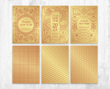 Ornate Chinese New Year Flyer Invitation Templates - Photoshop PSD & Illustrator Vector