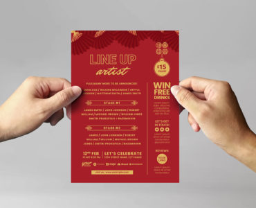 Red & Gold Chinese New Year Template in Vector / Ai / EPS / Illustrator Formats