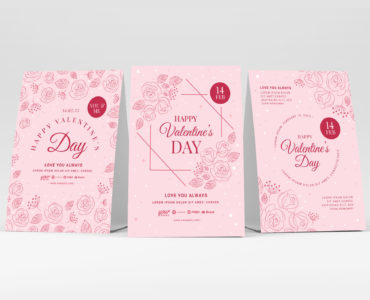 Simple Pink Valentine's Day Flyer Template (Photoshop PSD & Illustrator Ai Vector)