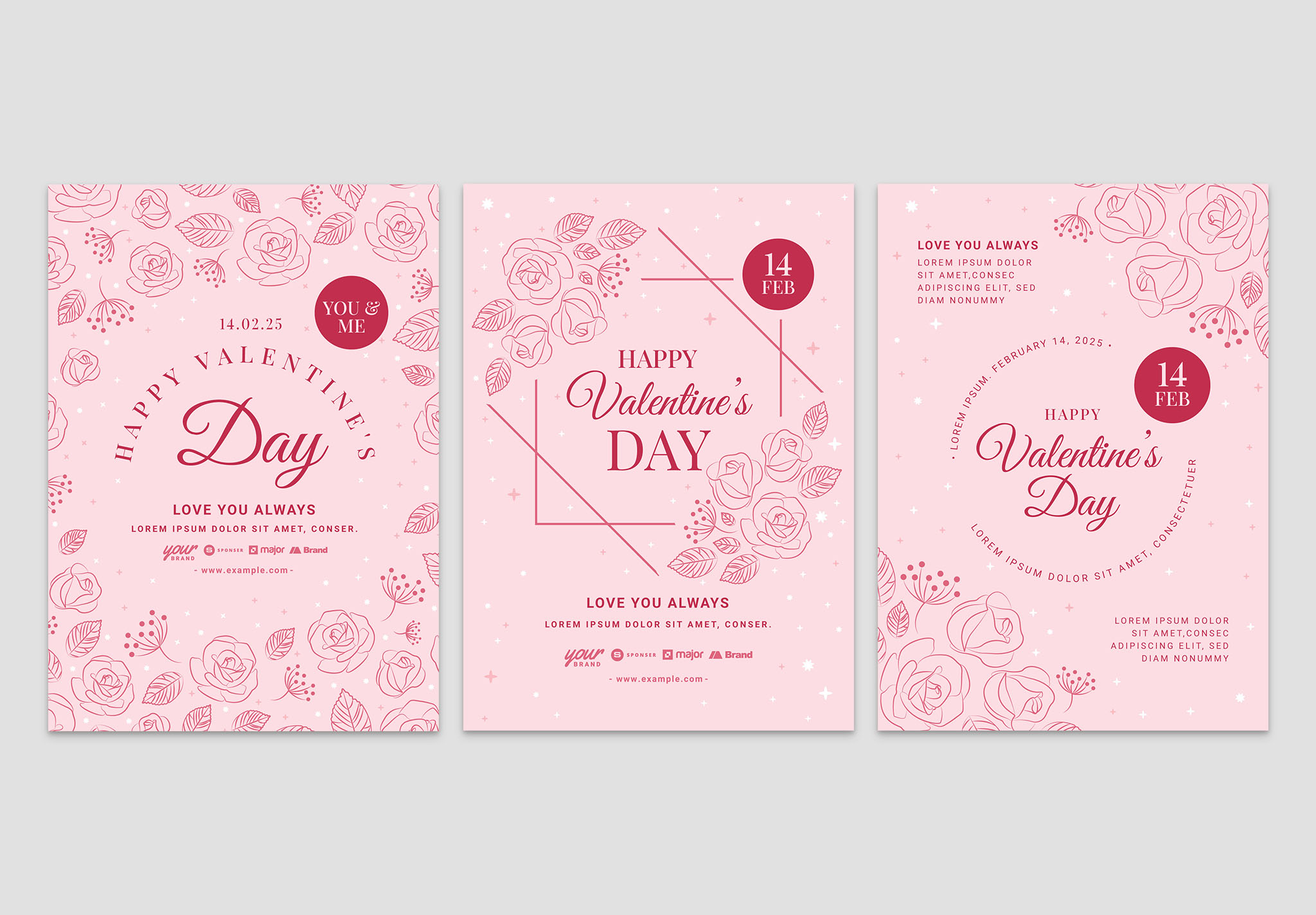 Simple Pink Valentine's Day Flyer Templates (Photoshop PSD, Illustrator Ai Vector)